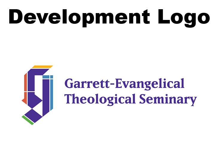Logo with Garrett's full name in purple on a white background